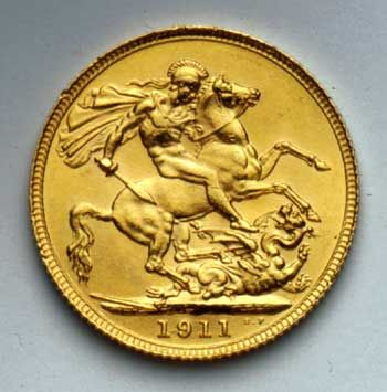 1911 Sovereign (gold coin with a face value of £1).   Reverse with St George and the dragon design.