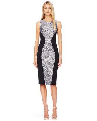 Michael Kors Printed Panel Fitted Dress Dress For Dinner
