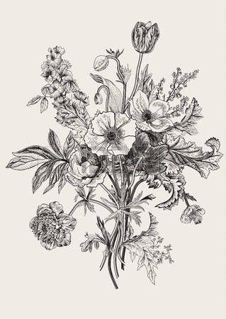 Stock Vector Vintage Flower Tattoo Flower Bouquet