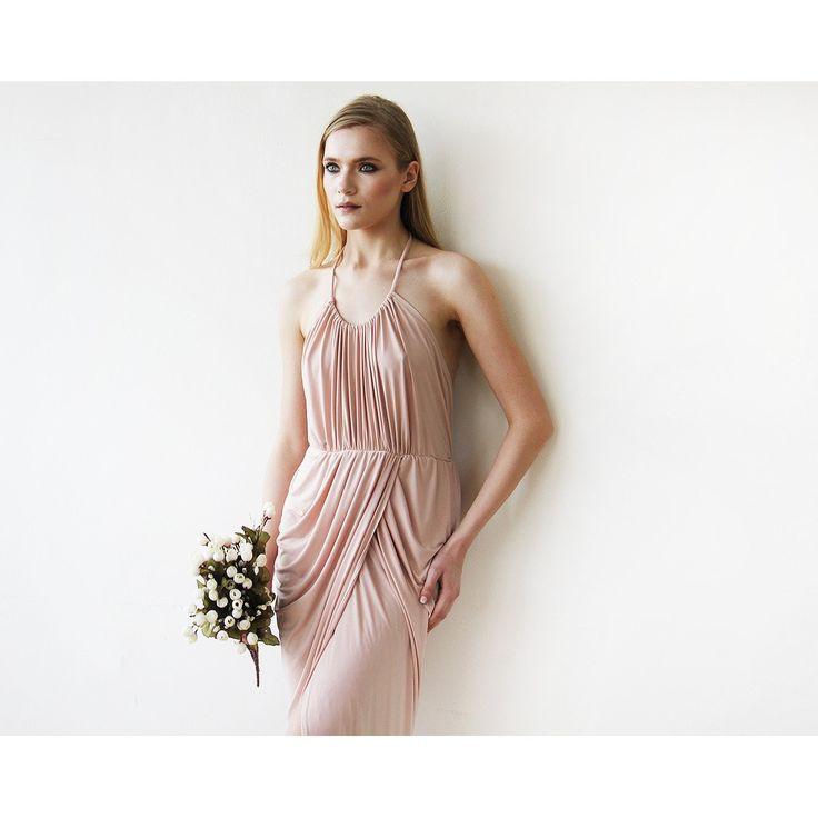 Halter Tulip Blush Pink Bridesmaids Maxi Gown 1155
