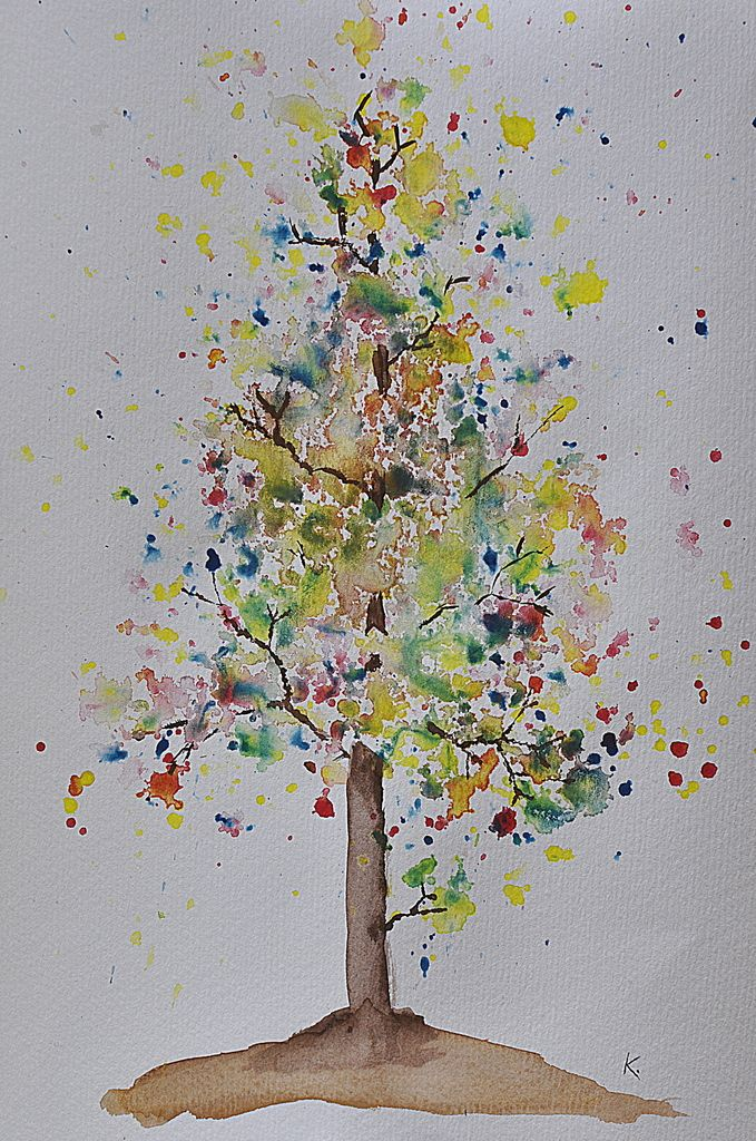 Watercolour tree tutorial -- autumn bloom