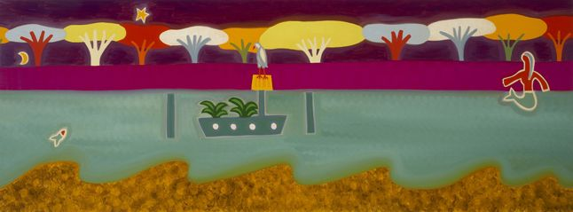 The Bird in the River Thames, 2008. Oil on linen, 50 x 138 cm. Exhibition: De los Alpes a los Andes. Private collection. #painting #oilpainting #finearts #contemporaryart #cristinarodriguez