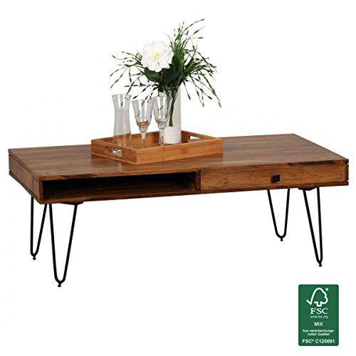 WOHNLING Couchtisch Massiv Holz Sheesham Breit Wohnzimmer Tisch Design  Metallbeine Landhaus Stil Beistelltisch Natur Produkt Wohnzimmermöbel  Unikat Modern ...