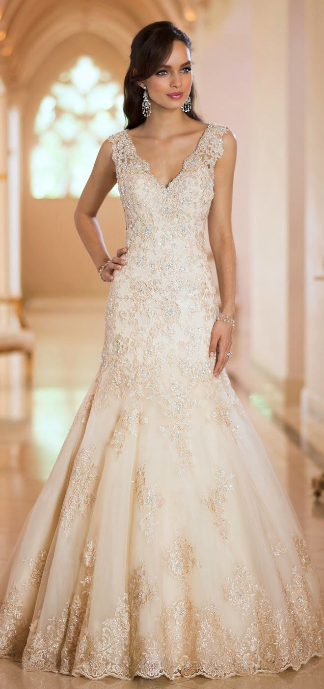 Stella York Fall 2014  | bellethemagazine.com #weddings #wedding dress ideas #hawaii princess brides