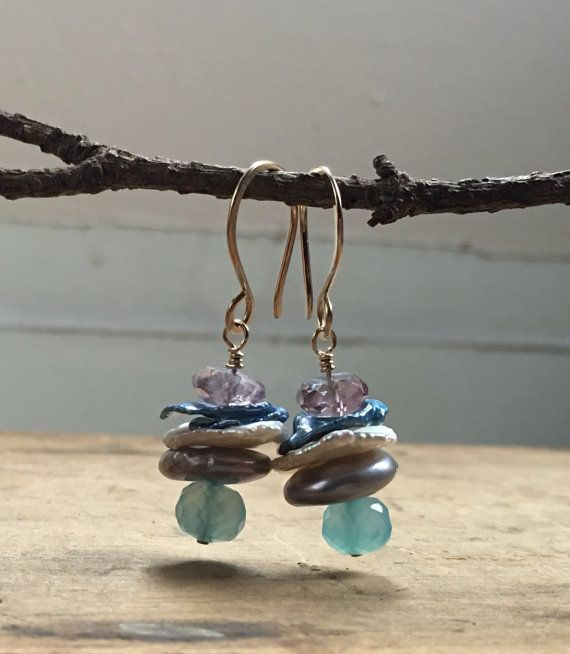 Blue chalcedony and Pearl earrings 14k gold by 9Porcelaintrees