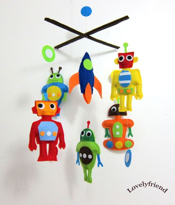 Baby Crib Mobile - Baby Mobile - Felt Mobile - Nursery mobile -  Colorful Robots  Design (Custom Color Available) via Etsy