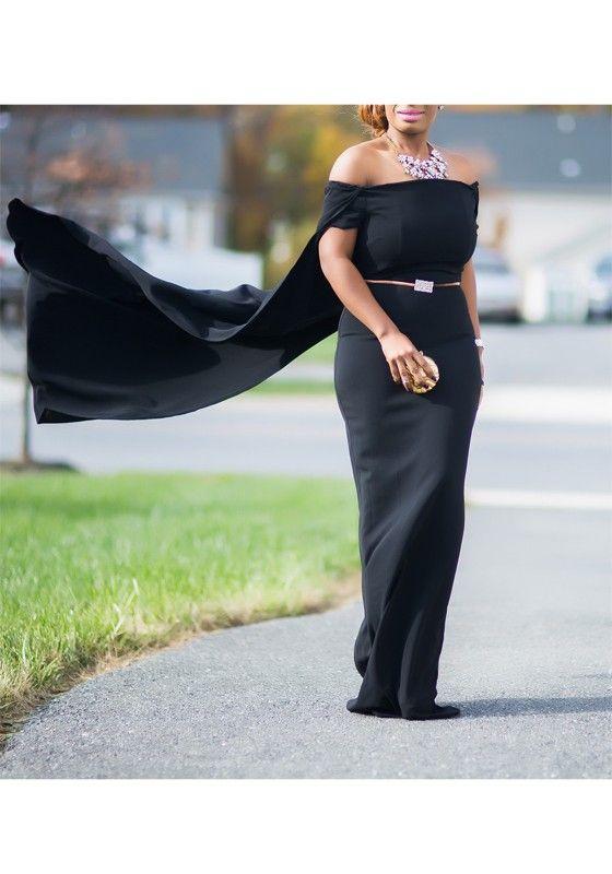 Black Plain Off-shoulder Bodycon Cloak Cape Masquerade Gown Maxi Dress