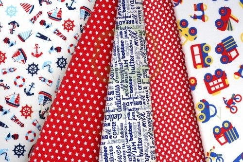 Boys marine cotton fabric set with letters, cars, lorries, buses, motorcycles, yachts, anchors, steering wheels, lighthouses, stars & hearts / Zestaw chłopięcy