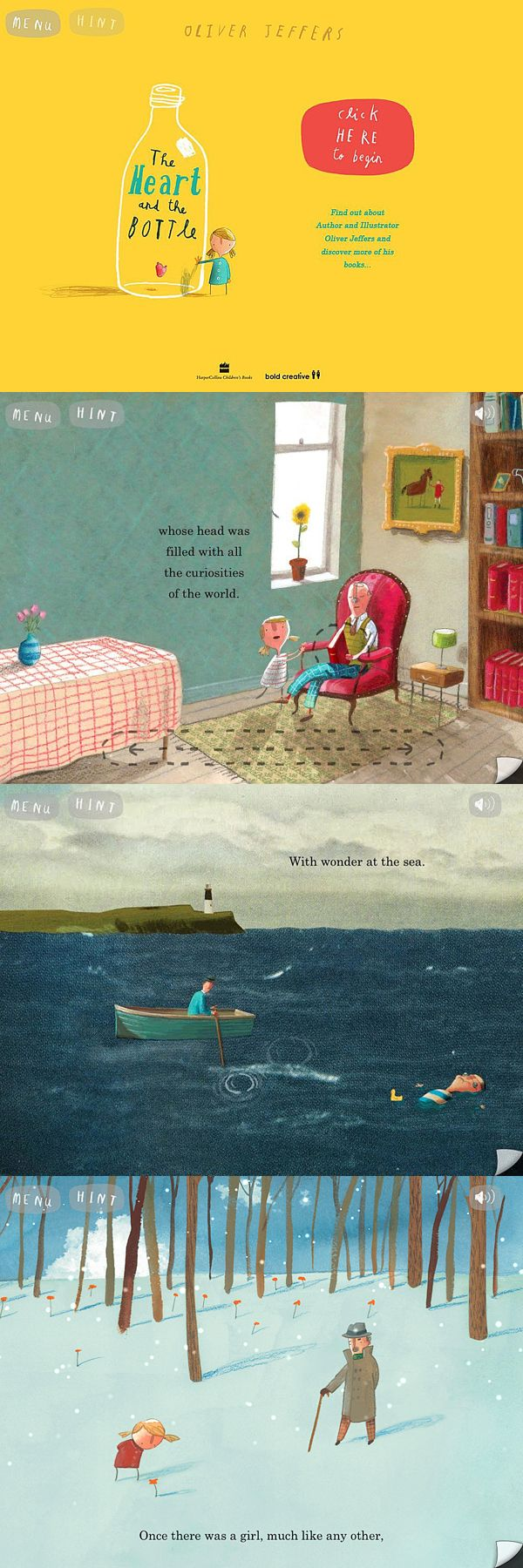 'The Heart and the Bottle' illustrations by Oliver Jeffers. - Oliver Jeffers layout and design of pages is interesting. How does the layout allow for interaction of words and images?