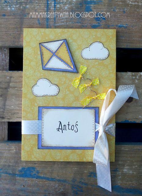 Ręcznie robiony album do zdjęć dla dziecka z imieniem i latawcem. Handmade photoalbum with kite.