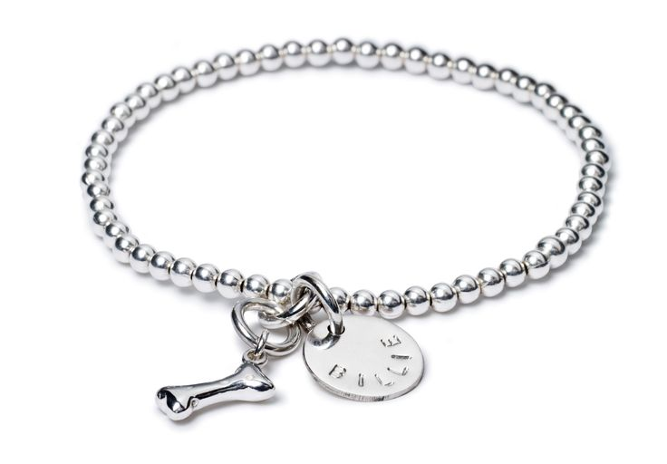 Erin Ball with Billie Bone + Love Letter - This light weight elastic 3mm ball bracelet comes with a Billie Bone and Medium Kathryn Love Letter which fits up to 8 letters.