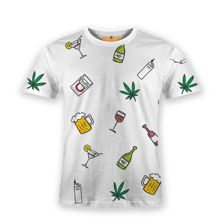 Basic T-Shirt Marijuana Rasta Beer Freedom Life Style Pattern #Hooman #BasicTee #beer #Henley #banana #t-shirt #fashion #tees #rasta #food #freedom #sale #apparel