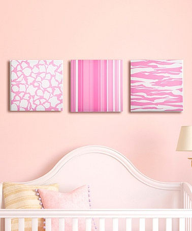 Fabric-wrapped canvas for easy room decor - an easy DIY. Change to boy colors or chevrons