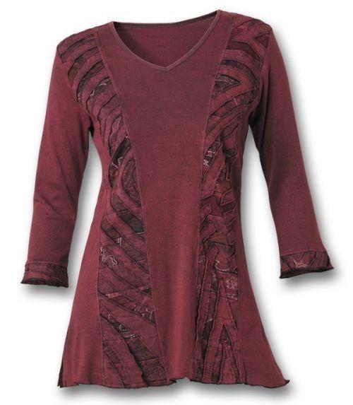 burgundy cutwork tunic southwest indian foundation upcycle