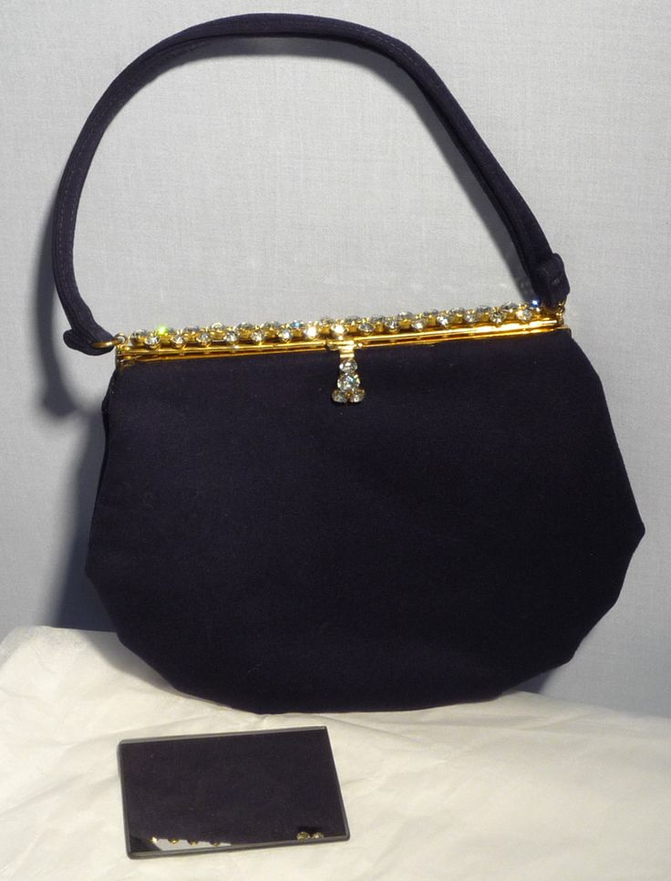 1950s Morris Moskowitz Navy Blue Wool Evening Bag With Rhinestone Frame and  Clasp Available at My 498a4f8f612d7