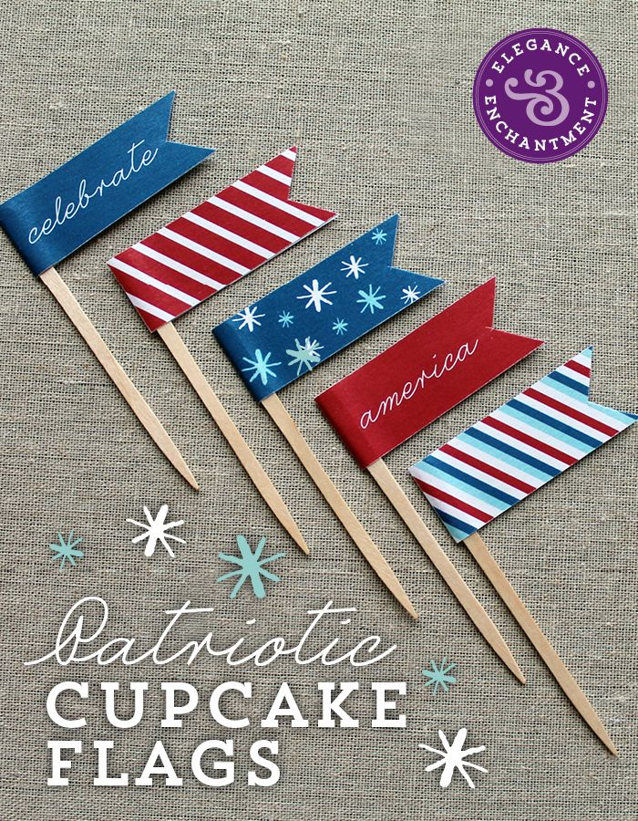 Freebie! 4th of July Cupcake Flags | Elegance & Enchantment
