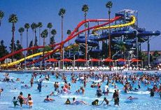 Knott's Soak City Water Park in Palm Springs, California - Awesome poolside cabanas with food and drink service