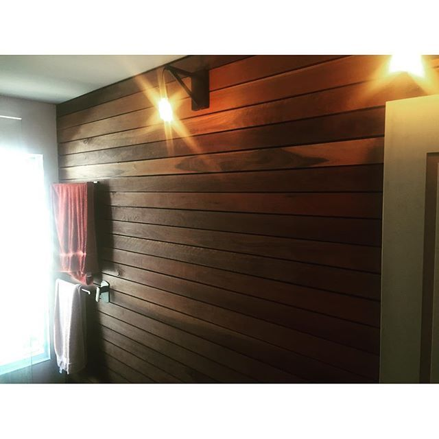 Super stoked to show you the Sticks & Stones timber bathroom wall completed and under lights. Fully recycled and hand crafted timber wall runs all the way into the shower recess and is highlighted by the matte black tapware and industrial lighting! We think it's pretty fantastic, What about you?  #sticksandstonesdandc #onlythebestwilldo #whatwelove #whatwedo #timberman #industrialbathroom #timberbathroom #timberwall #recycledtimber