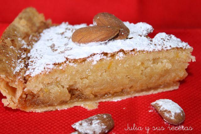 tarta de hojaldre relleno, cabello de ángel, postres con cabello de ángel, postres con almendra, postres co hojaldre, Julia y sus recetas