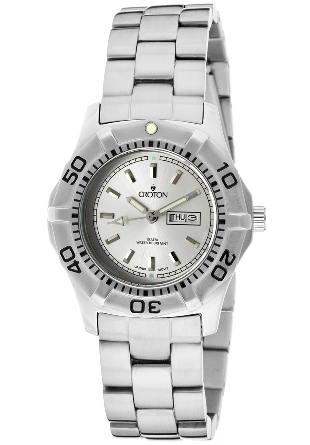 Price:$57.38 #watches Croton CA201051SSSL, With a royal appeal, this Croton timepiece has a regal design and adds a refined look to your wardrobe.