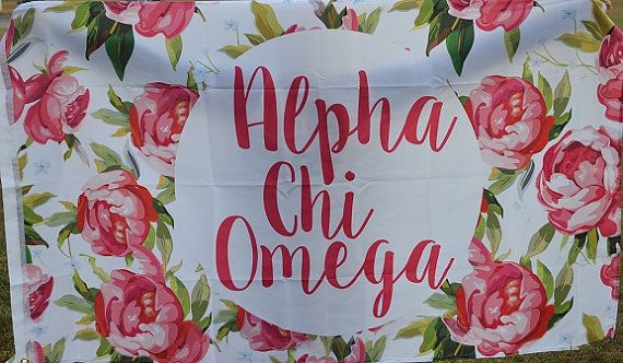 Alpha Chi Omega Floral Flag by NowGreek on Etsy