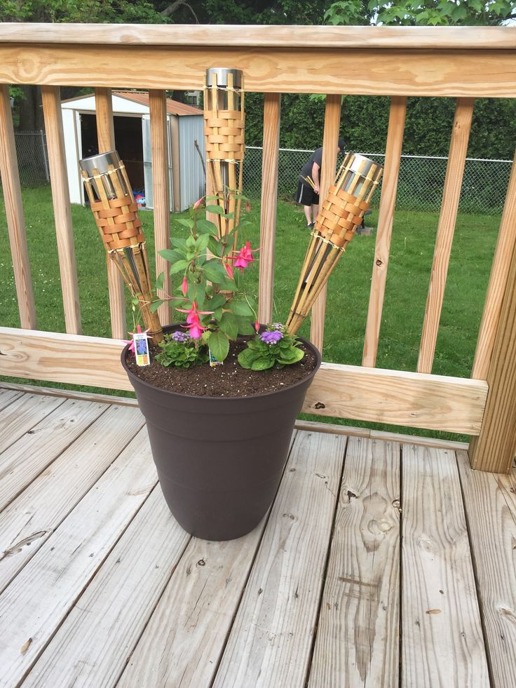Solar Lights In Tiki Torches For Evening Lighting Diy