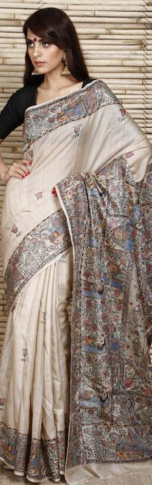 Madhubani painting on silk saree....