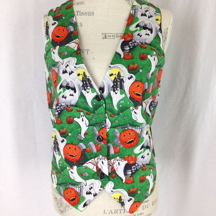 halloween vest size medium haunted house ghosts bats pumpkins ceci brand - Halloween Scrubs Uniforms