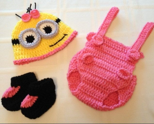 Baby Girl Minion Outfit/Set Pink w/ Hat Overalls by FussButtons, $30.00