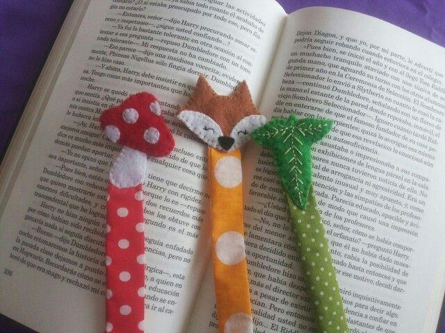 Bookmark marcalibros marcapáginas fieltro paño lenci animal zorro, hoja de Lórien y mushroom