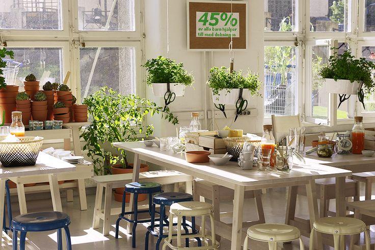 Dukat frukostbord på pressvisningen av nya IKEA katalogen 2016. Med NORRÅKER bord och bänkar, BITTERGURKA ampel, INGEFÄRA terracotta krukor, KNAGGLIG lådor, och 365+ glas och porslin. #ikeakatalogen #ikeakatalogen2016 #provsmakaikea #ikeasverige #pressevent #frukost #dukning #långbord