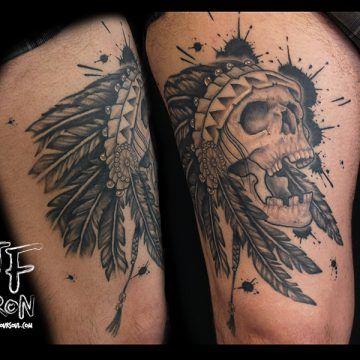 Tattoo Artist: JF Biron Located in Montreal, Canada skull ink splatter tattoo,
