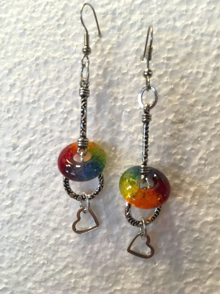 #HeartEarrings #handmade #lifesaverbeads in Rainbow colors by Cindi Hardwicke