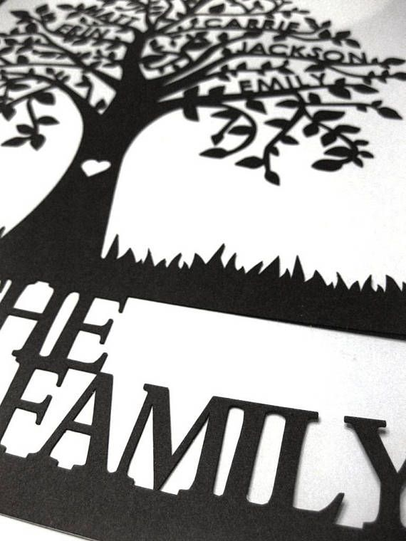 This beautiful Family Tree Papercut is personalized with up to 6 names on the branches, with a last name or message at the bottom. It is a unique and meaningful piece of art for your own home, or a sentimental gift for a loved one. There are over 40 colours to choose from, to easily