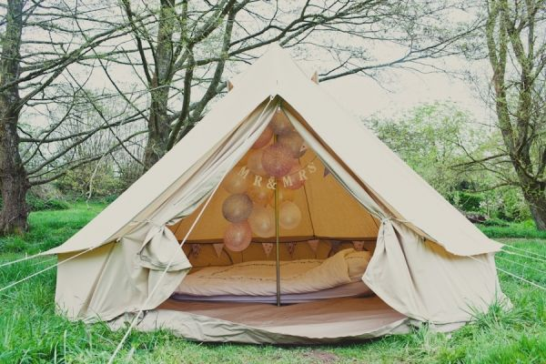 Love this bell tent. We wanted one for our wedding night.