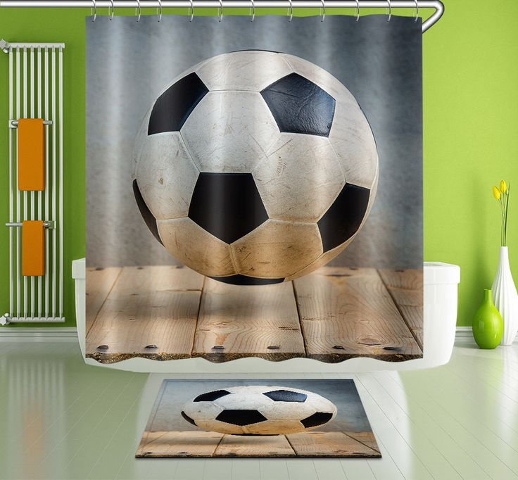 100 Polyester Soccer Bathroom Decor Shower Curtain Hooks Bath Mat Rug Yl3349