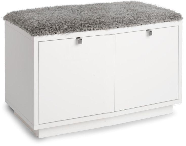 Confetti sittbänk med tre lådor i ek, svart- eller vitlack med grå dyna.
