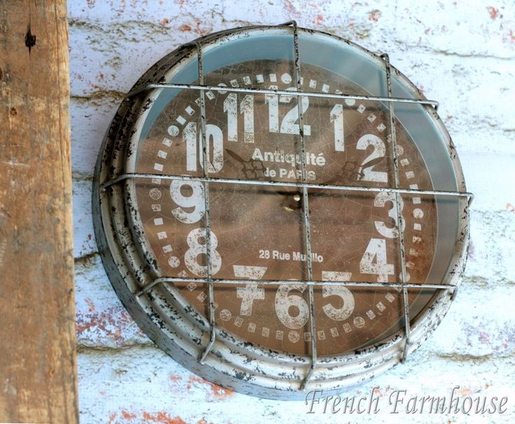 Wire Cage Wall Clock Schoolhouse Rustic Gym Metal Grill
