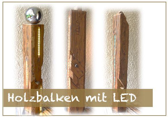 Holzbalken mit LED