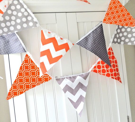 Banner Bunting Fabric Pennant Flags Orange by vintagegreenlimited