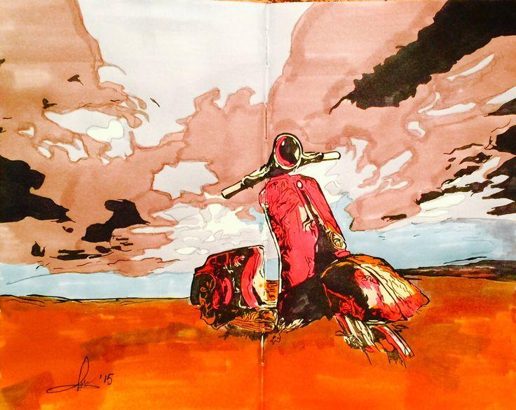 Abbandonato - 28x24 cm - inchiostro su carta  Pittore curioso di Andrea Albonetti   Non abbandonare un vecchio amico, perché quello recente non è uguale a lui. Siracide, Antico Testamento, II sec. a.e.c.