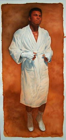 Muhammed Ali by Glen Green 12x27 watercolour