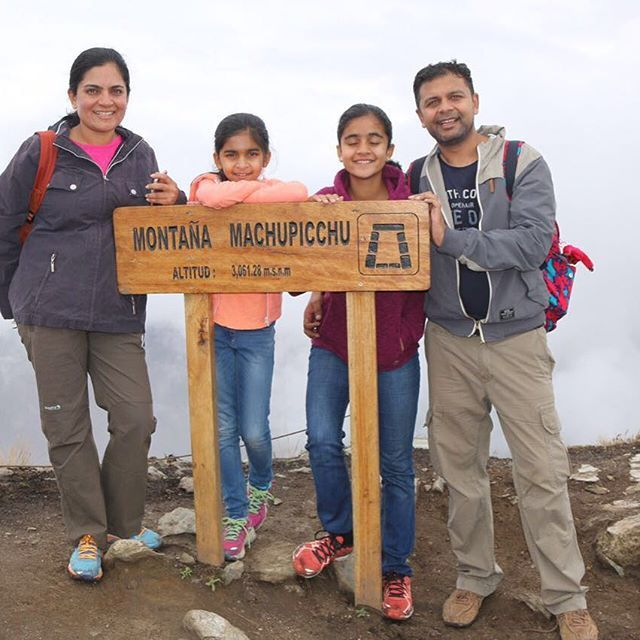 The Shah family up at Machu Picchu mountain #uncoverlatinamerica…
