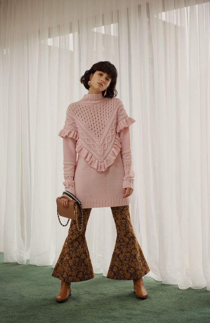 INGA PINK JUMPER & LOUIE JACQUARD CROPPED TROUSER - both are still available to buy online now. #motherofpearl #pearlyqueen #pinkjumper #croppedtrouser #aw17lookbook