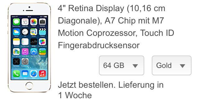 iPhone 5s Lieferzeit: Nachschub ist da - iPhone 5s bei Telekom Lieferung in 1 Woche! - http://apfeleimer.de/2013/11/iphone-5s-lieferzeit-nachschub-ist-da-iphone-5s-bei-telekom-lieferung-in-1-woche - Überraschung zum Wochenende – das iPhone 5s sollte wieder in nahezu allen Farben und Speichergrößen innerhalb von einer Wochen bei Euch zuhause eintreffen. Laut mobiler Telekom-Webseite sind diese iPhone 5s Geräte innerhalbeiner Woche lieferbar. Die Lieferzeiten für