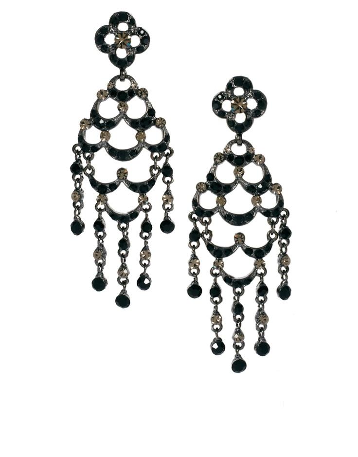 Talulllah Tu for ASOS - Jet Waterfall Chandelier Earrings