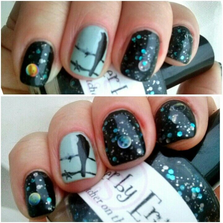 Glimmer by Erica Watcher on the walls and nail stamping.