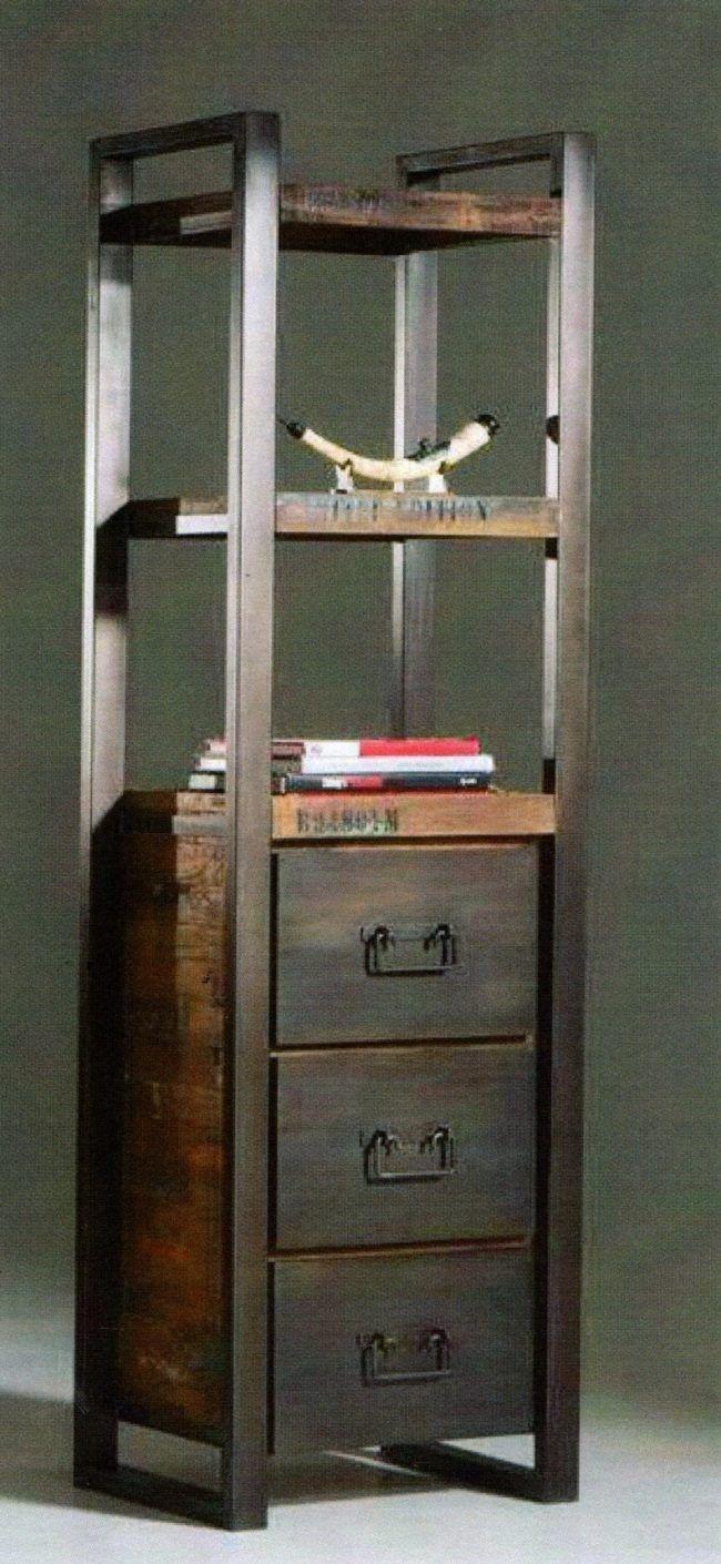 Libreria modello industrial vintage in offerta, mobile con 3 cassetti, legno lamellare e struttura in ferro battuto libreria stile vintage