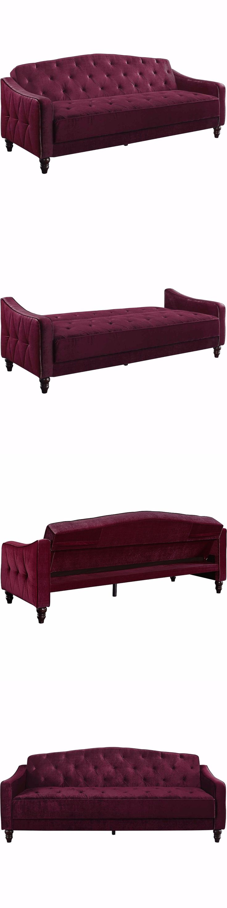 furniture: Vintage Sofa Sleeper Bed Couch Living Room Tufted Burgundy Futon Lounge Home -> BUY IT NOW ONLY: $380 on eBay!