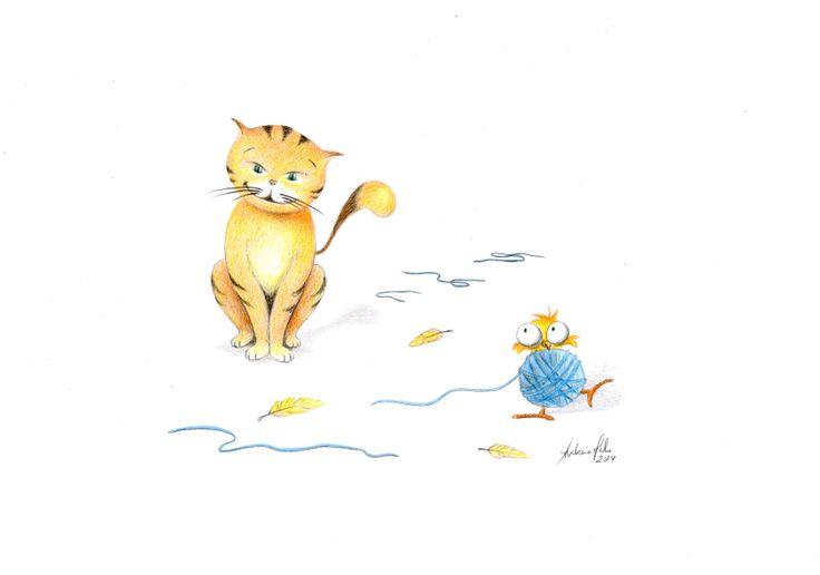 Cat and (still) a bird - Color pencil - Author: Andreia Melo